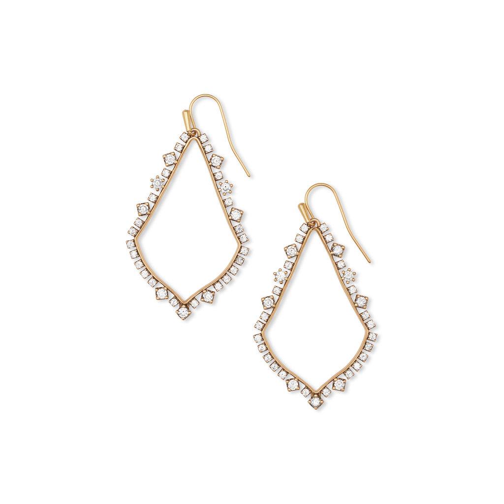 Sophee Crystal Drop Earrings In Vintage Gold