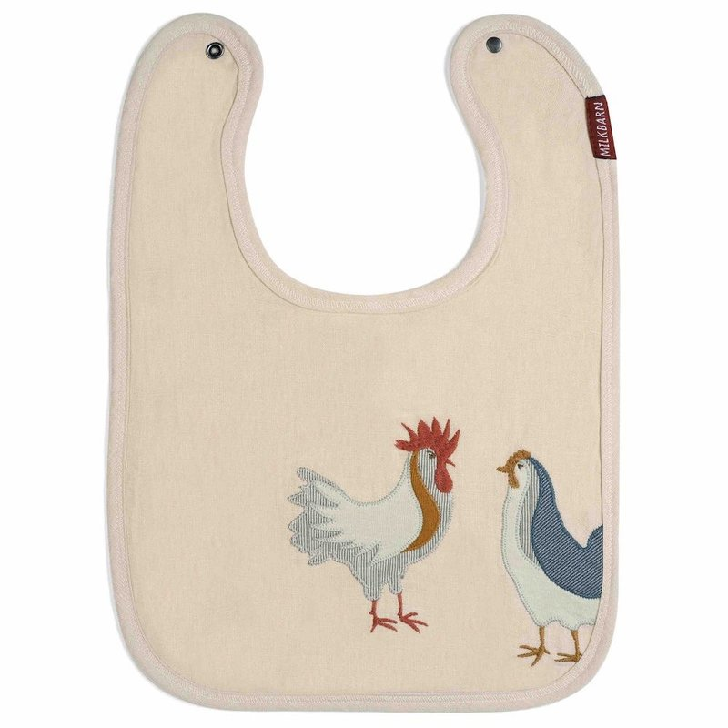 Little Bees Chicken - Appliqué Linen Bib