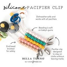 Little Bees Mustard Pacifier Clip