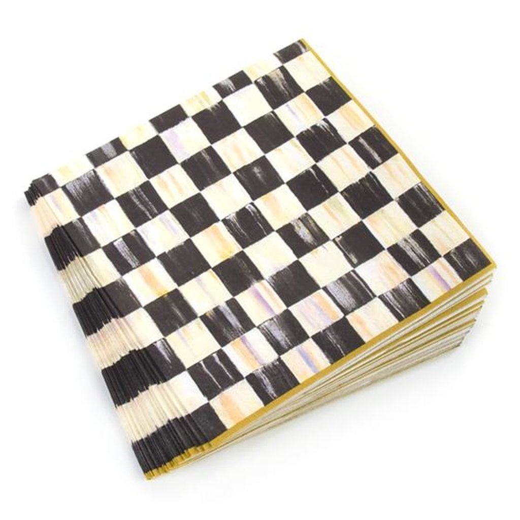 Courtly Check Dinner Paper Napkin - Gold Border