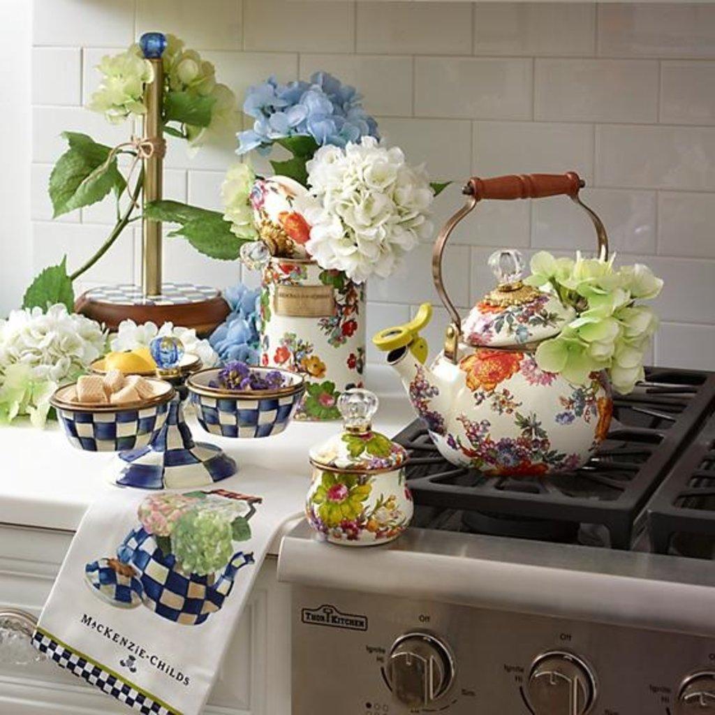 MacKenzie-Childs Flower Market Large Canister- White