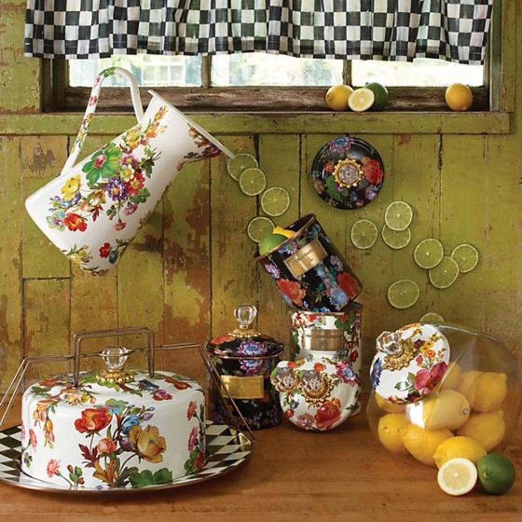 Cookie Jar Flower Market Enamel Lid - White