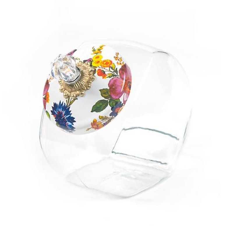 Cookie Jar Flower Market Enamel Lid - White