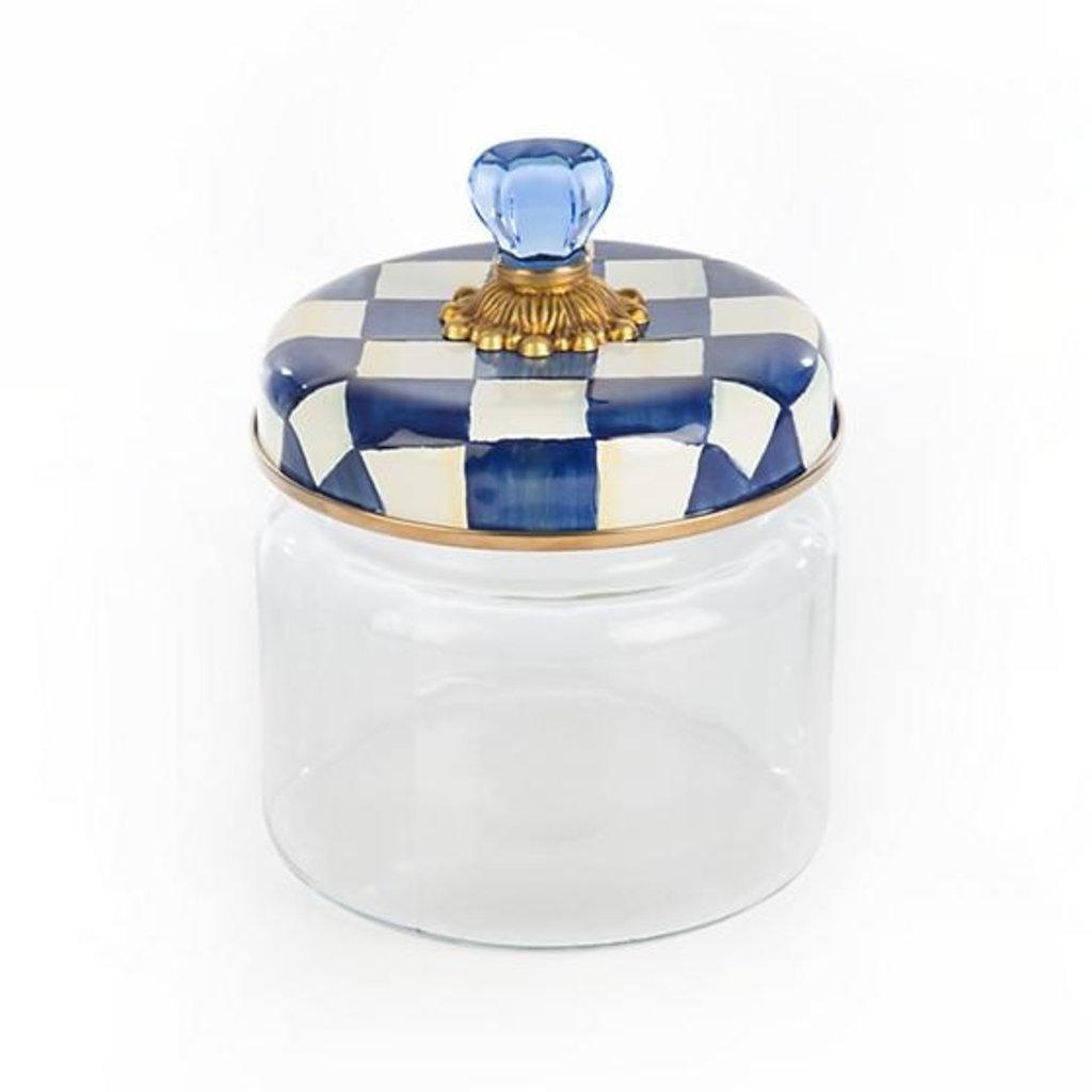 Royal Check Glass Storage Canister - Small