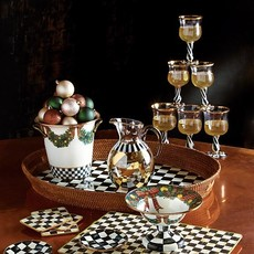 MacKenzie-Childs Courtly Check Rattan & Enamel Party Tray - Large