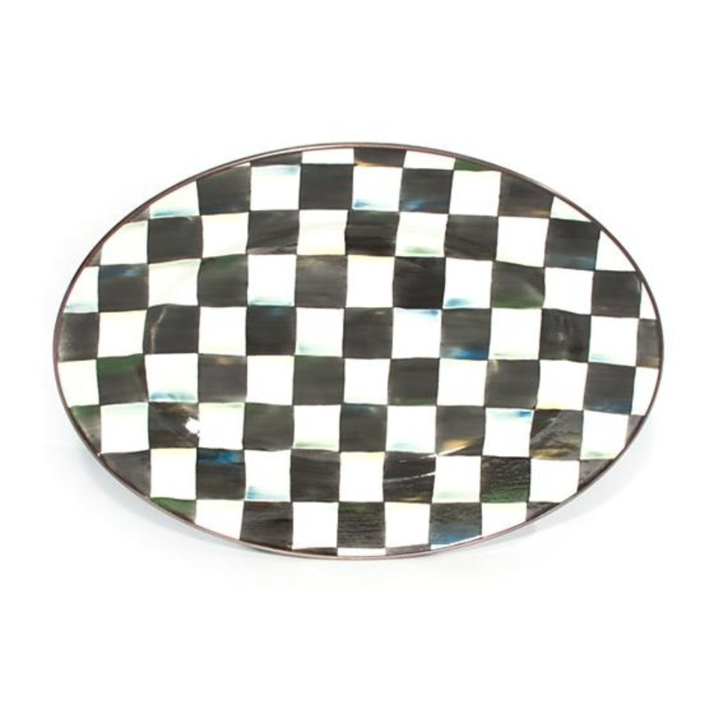 Courtly Check Enamel Oval Platter - Small