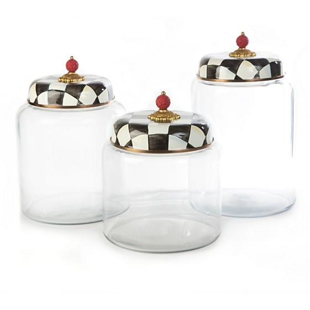 MacKenzie-Childs Courtly Check Glass Canister - Bigger