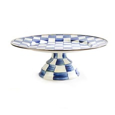 Royal Check Pedestal Platter - Large