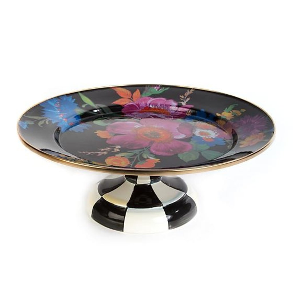 Flower Market Pedestal Platter - Small Black