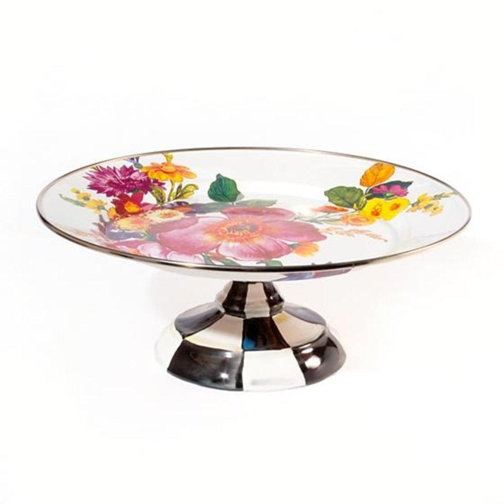 Flower Market Pedestal Platter - Small White