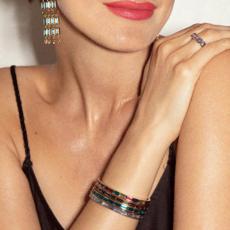 Kendra Scott Jack Silver Cuff Bracelet In Charcoal Gray Crystal