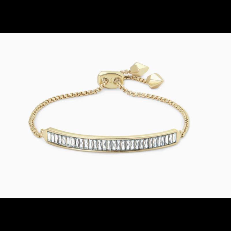 Kendra Scott Jack Adjustable Gold Chain Bracelet In White Crystal