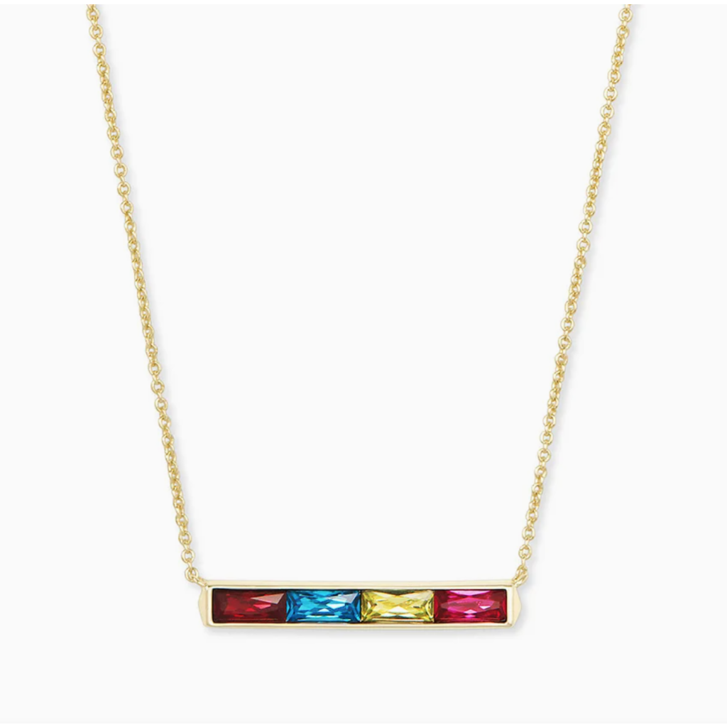 Kendra Scott Jack Gold Pendant Necklace In Multi Crystal