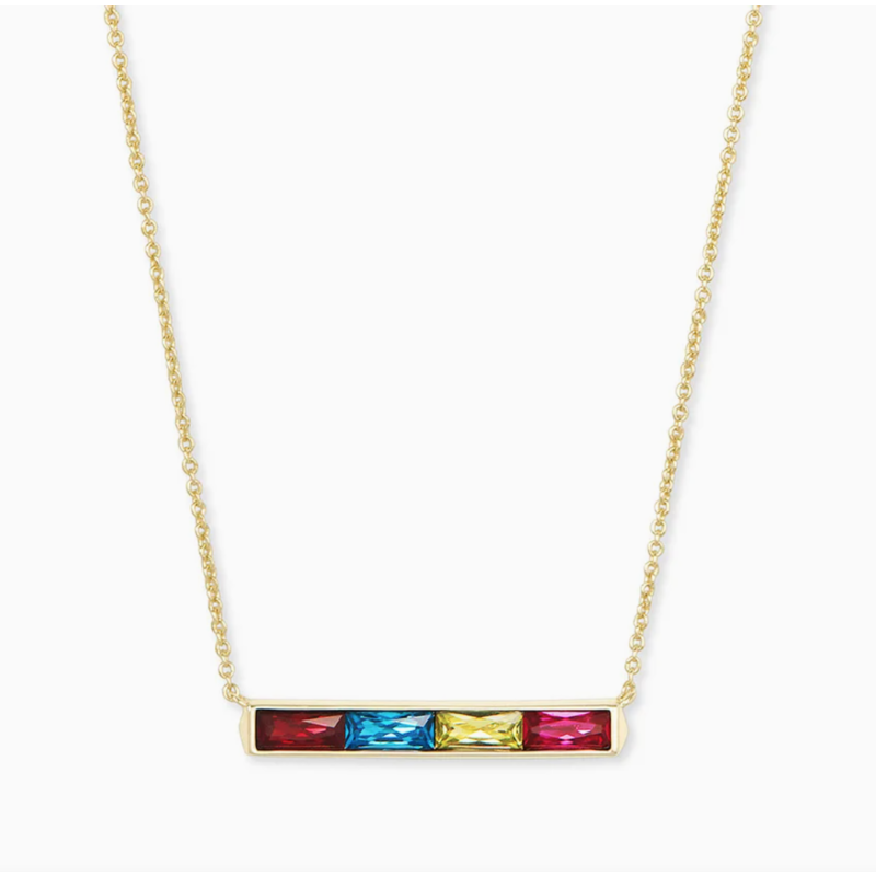 Kendra Scott Jack Gold Pendant Necklace In Multi Crystal