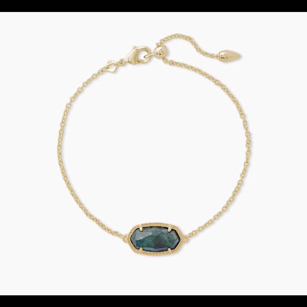 Elaina Gold Single Slide Bracelet In Green Apatite
