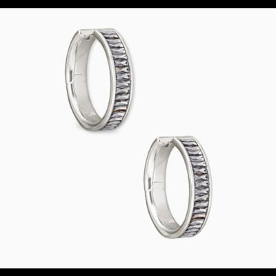 Kendra Scott Jack Silver Hoop Earrings In Charcoal Gray Crystal