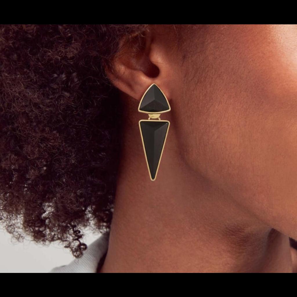 Kendra Scott Vivian Vintage Gold Statement Earrings In Golden Obsidian