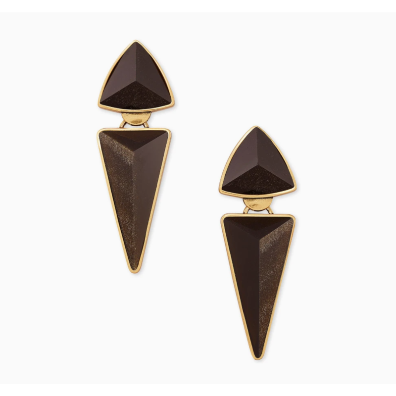 Kendra Scott Vivian Vintage Gold Statement Earrings In Golden Obsidian