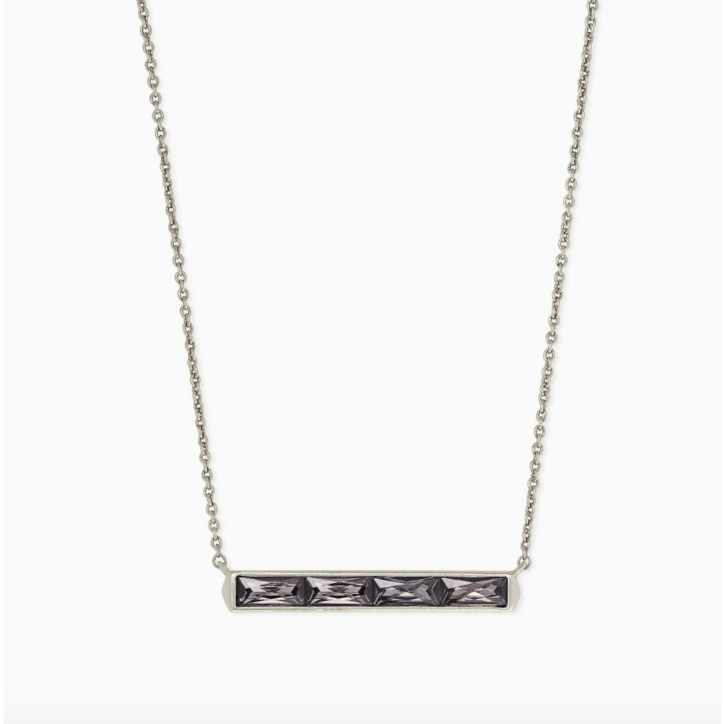 Jack Silver Pendant Necklace In Charcoal Gray Crystal