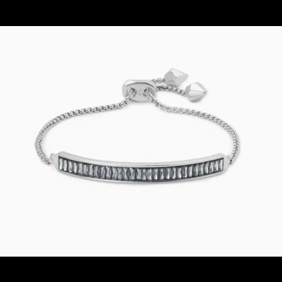 Kendra Scott Jack Adjustable Silver Chain Bracelet In Charcoal Gray Crystal