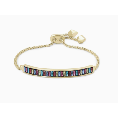 Kendra Scott Jack Adjustable Gold Chain Bracelet In Multi Crystal