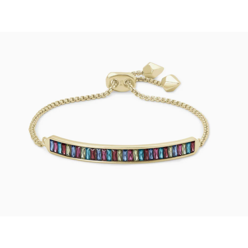 Kendra Scott Jack Adjustable Gold Chain Bracelet In Multi Crystal