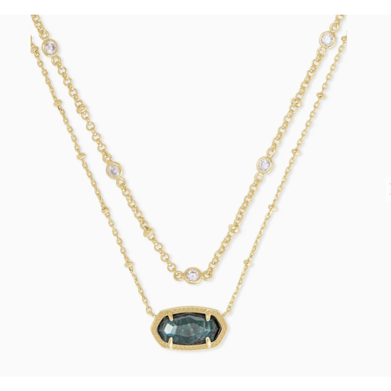 Elisa Gold Multi Strand Necklace In Green Apatite