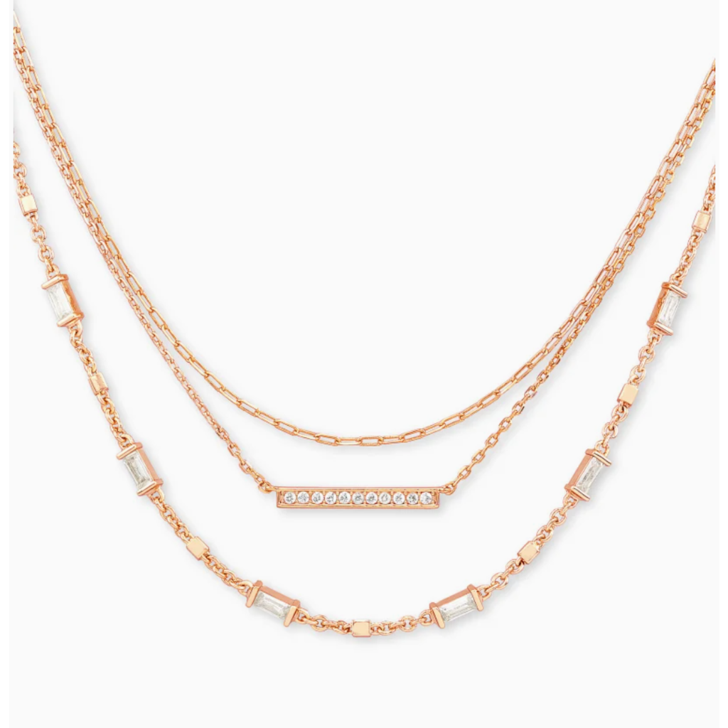 Kendra Scott Addison Triple Strand Necklace In Rose Gold