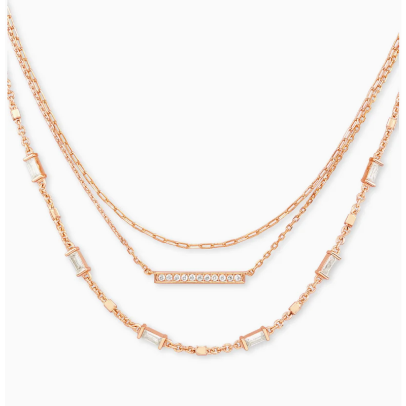 Kendra Scott Addison Triple Strand Necklace In Rose Gold