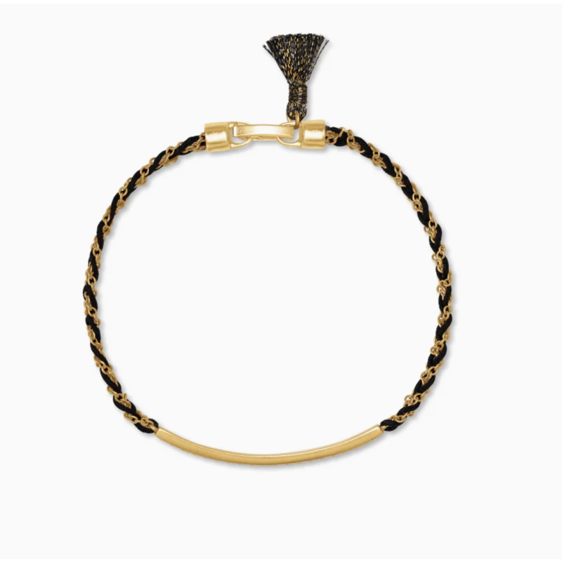Kendra Scott Addison Vintage Gold Friendship Bracelet In Black Cord