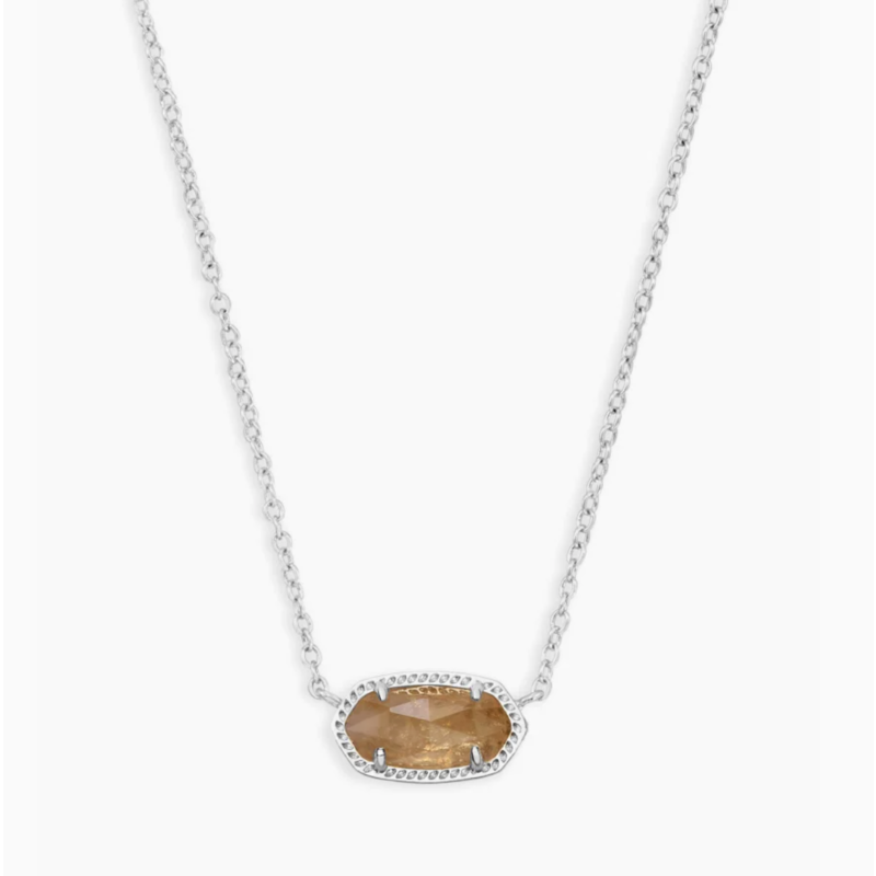 Kendra Scott Elisa Silver Pendant Necklace In Citrine