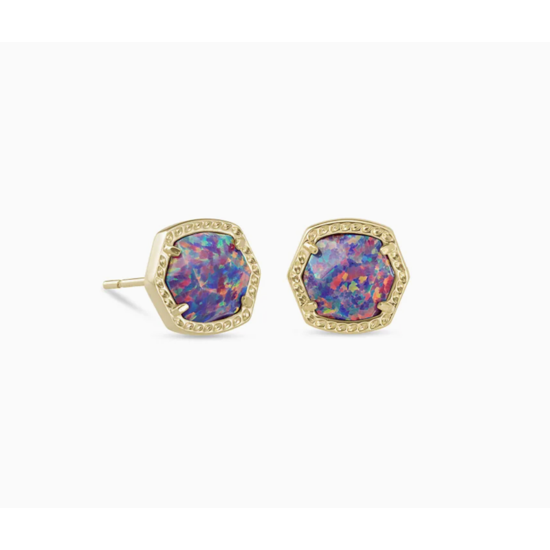 Davie Gold Stud Earrings In Lavender Kyocera Opal