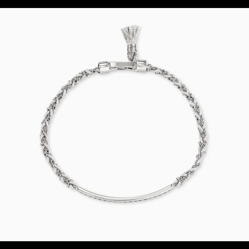 Kendra Scott Addison Silver Friendship Bracelet In White Cord