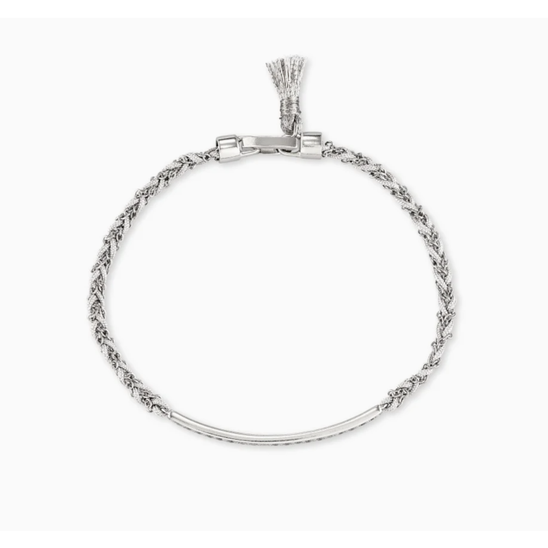 Kendra Scott Addison Silver Friendship Bracelet In White Cord