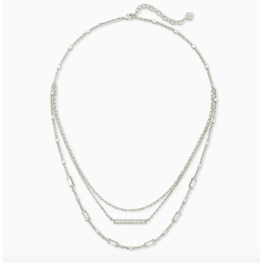 Kendra Scott Addison Triple Strand Necklace In Silver