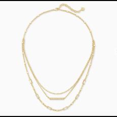 Kendra Scott Addison Triple Strand Necklace In Gold
