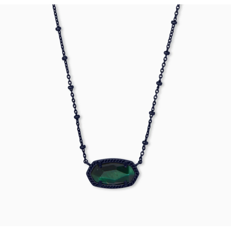 Kendra Scott Elisa Gunmetal Satellite Pendant Necklace In Green Tiger's Eye