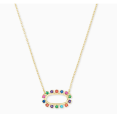 Elisa Gold Open Frame Pendant Necklace In Multi Crystal