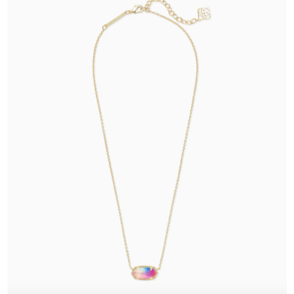 Kendra Scott Elisa Gold Pendant Necklace In Watercolor Illusion