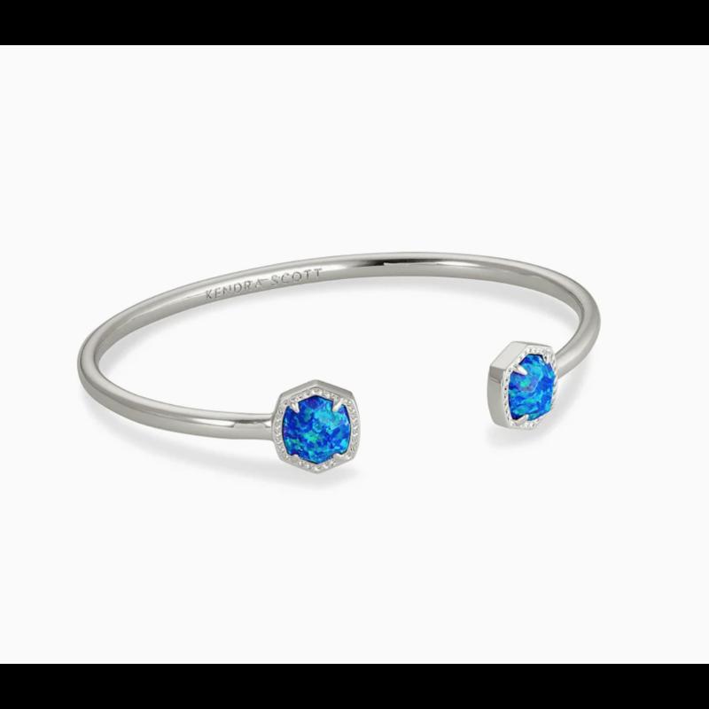Kendra Scott Davie Silver Cuff Bracelet In Royal Blue Kyocera Opal