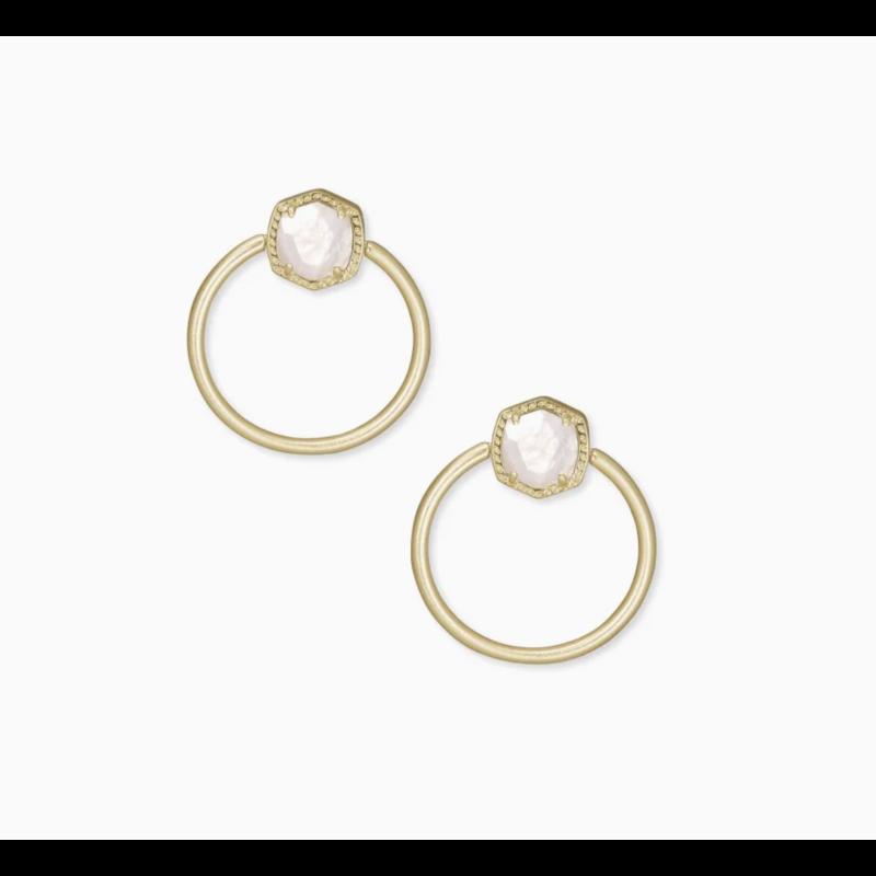 Kendra Scott Davie Gold Hoop Earrings In Ivory Mother-Of-Pearl