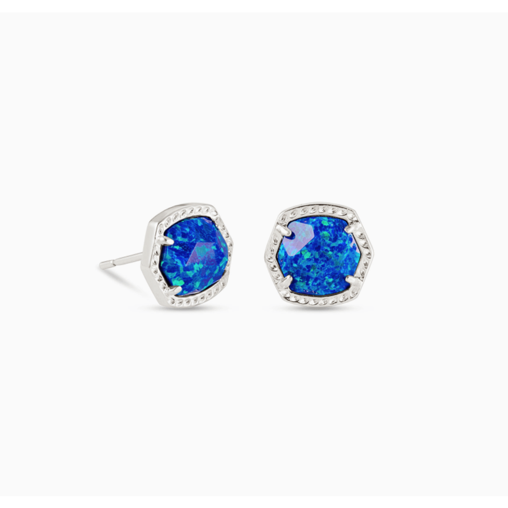 Kendra Scott Davie Silver Stud Earrings In Royal Blue Kyocera Opal