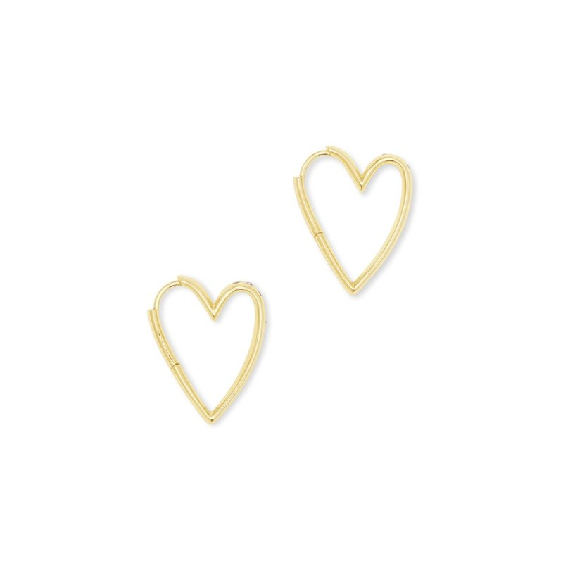 Ansley Heart Small Hoop Earrings In Gold