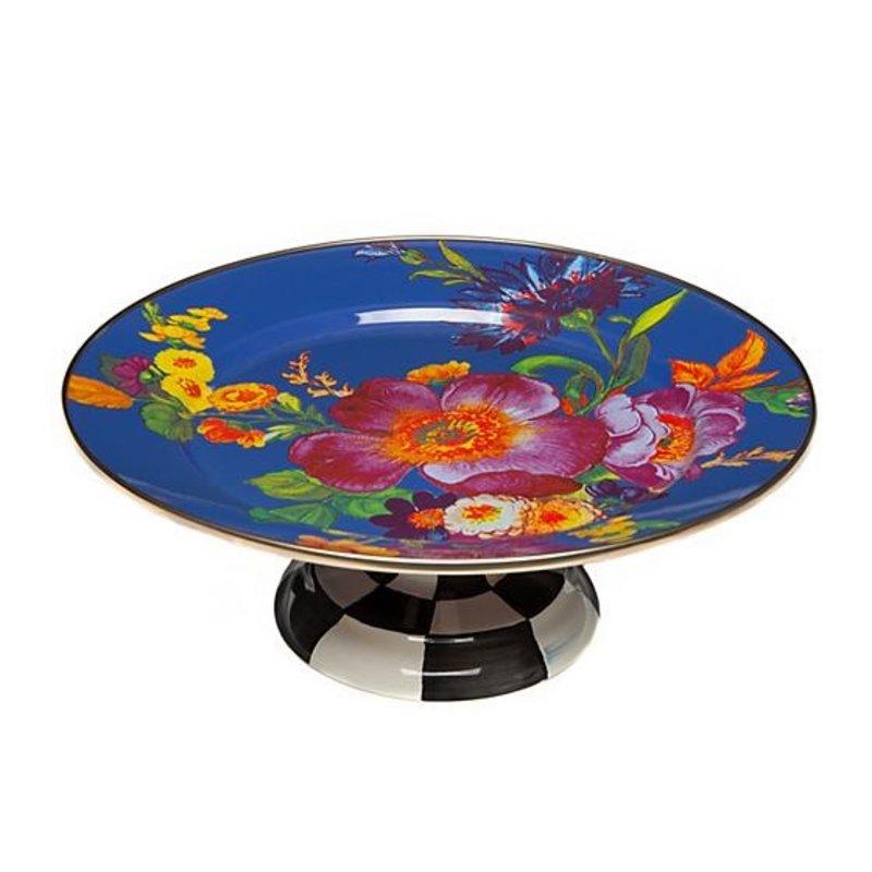 Flower Market Small Pedestal Platter - Lapis
