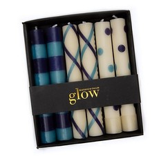 Mini Dinner Candles - Blue & Navy Set of 6