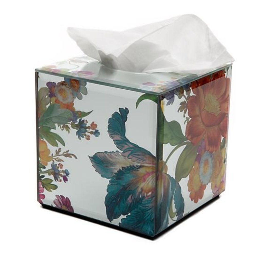 Flower Market Reflections Boutique Tissue Box - white Cover
