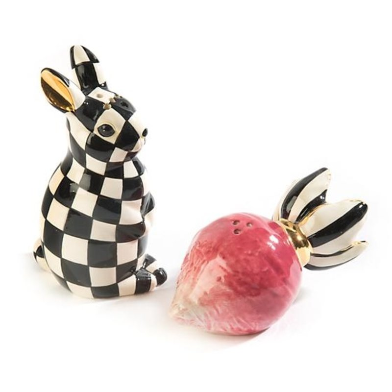 MacKenzie-Childs Radish Rabbit Salt & Pepper Shakers