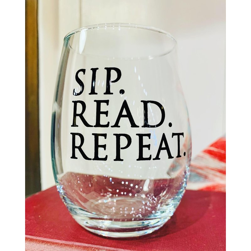 Sip Read Repeat Wine Glass