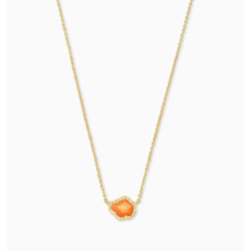 Tessa Gold Small Pendant Necklace In Papaya Mother Of Pearl