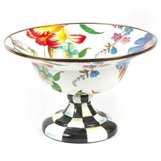 Flower Market Large Compote - White